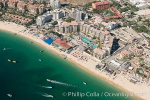 Aerial view of Medano Beach in Cabo San Lucas, showing many resorts along the long white sand beach. Cabo San Lucas, Baja California, Mexico, natural history stock photograph, photo id 28882