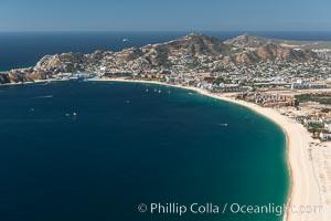 Aerial photograph of Medano Beach and Cabo San Lucas, Mexico