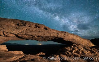 The Milky Way arching over Mesa Arch at night, Canyonlands National Park, Utah