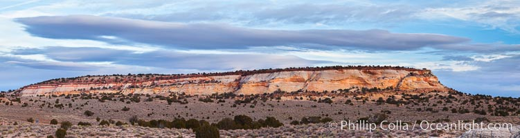 Mesa and clouds, sunset, White Pocket, Vermillion Cliffs National Monument, Arizona