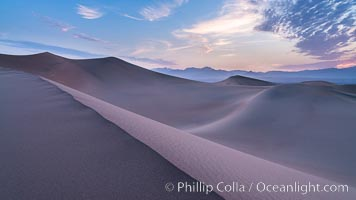 Mesquite Dunes sunrise, dawn, clouds and morning sky, sand dunes. Stovepipe Wells, Death Valley National Park, California, USA, natural history stock photograph, photo id 28686