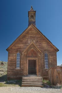 Methodist Church, Green Street, exterior, southern exposure, Bodie State Historical Park, California