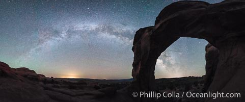 Milky Way and Stars over Broken Arch, Arches National Park, Utah