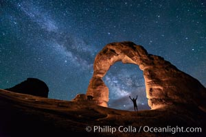 Milky Way and Stars over Delicate Arch, at night, Arches National Park, Utah