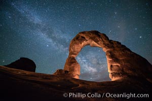 Milky Way and Stars over Delicate Arch, at night, Arches National Park, Utah. Delicate Arch, Arches National Park, Utah, USA, natural history stock photograph, photo id 29294