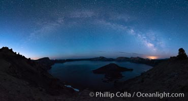 Milky Way and stars over Crater Lake at night. Panorama of Crater Lake and Wizard Island at night, Crater Lake National Park. Crater Lake National Park, Oregon, USA, natural history stock photograph, photo id 28635