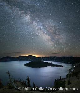 Milky Way and stars over Crater Lake at night. Panorama of Crater Lake and Wizard Island at night, Crater Lake National Park. Crater Lake National Park, Oregon, USA, natural history stock photograph, photo id 28643