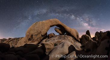 Milky Way during Full Lunar Eclipse over Arch Rock, Joshua Tree National Park, April 4 2015. Joshua Tree National Park, California, USA, natural history stock photograph, photo id 30715