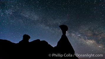 The Milky Way rises in the sky above the Toadstool Hoodoos near the Paria Rimrocks.  Rimrock Hoodoos, Grand Staircase - Escalante National Monument, Utah