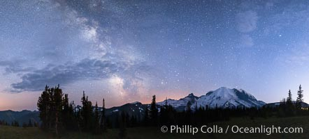 Milky Way and stars at night above Mount Rainier, Sunrise, Mount Rainier National Park, Washington