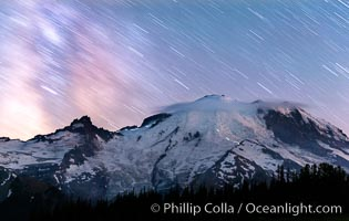 Moutain climbers light see upon Mount Rainier, Milky Way and stars at night above Mount Rainier. Sunrise, Mount Rainier National Park, Washington, USA, natural history stock photograph, photo id 28726