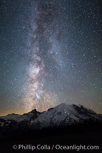 Milky Way and stars at night above Mount Rainier. Sunrise, Mount Rainier National Park, Washington, USA, natural history stock photograph, photo id 28731