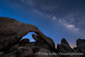 Arch Rock, Venus and Milky Way at Astronomical Twilight, Morning approaching, Joshua Tree National Park