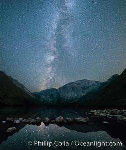 Milky Way over Convict Lake, panoramic photo