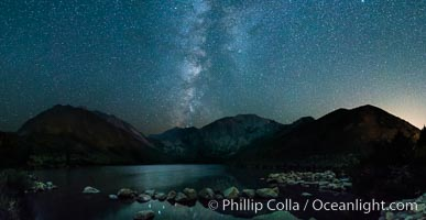 Milky Way over Convict Lake, panoramic photo, natural history stock photograph, photo id 31187