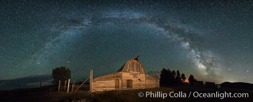 Milky Way over John Moulton Barn, Grand Teton National Park, natural history stock photograph, photo id 32305