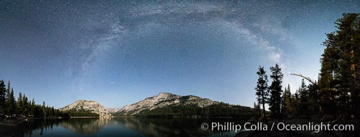 Milky Way over Tenaya Lake, Polly Dome (left), Tenaya Peak (center), Yosemite National Park