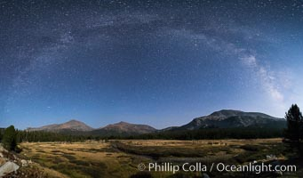 Milky Way over Tuolumne Meadows, Mount Dana (left), Mount Gibbs (center), Mammoth Peak and Kuna Crest (right), Dana Fork of the Tuolumne River. Yosemite National Park, California, USA, natural history stock photograph, photo id 31180