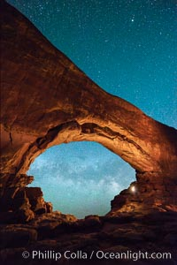 Milky Way through North Window, Arches National Park. North Window, Arches National Park, Utah, USA, natural history stock photograph, photo id 29276