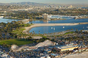 """Mission Bay, is the largest man-made aquatic park in the country.  It spans 4,235 acres and is split nearly evenly between land and water.  It is situated between the communities of Pacific Beach, Mission Beach, Bay Park and bordered on the south by the San Diego River channel.  Once named """"False Bay"""" by Juan Cabrillo in 1542, the tidelands were dredged in the 1940's creating the basins and islands of what is now Mission Bay. San Diego, California, USA, natural history stock photograph, photo id 22381"""