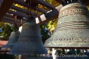 Mission bells, Mission San Luis Obispo del Tolosa.  Established in 1772, Mission San Luis Obispo de Tolosa is a Spanish mission founded by Junipero Serra, first president of the California missions.  It was the fifth in a chain of 21 missions stretching from San Diego to Sonoma.  Built by the Chumash indians living in the area, its combination of belfry and vestibule is unique among California missions.  In 1846 John C. Fremont and his California battalion quartered here while engaged in the war with Mexico