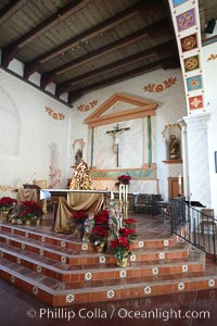 Mission San Luis Obispo del Tolosa, chapel interior.  Established in 1772, Mission San Luis Obispo de Tolosa is a Spanish mission founded by Junipero Serra, first president of the California missions.  It was the fifth in a chain of 21 missions stretching from San Diego to Sonoma.  Built by the Chumash indians living in the area, its combination of belfry and vestibule is unique among California missions.  In 1846 John C. Fremont and his California battalion quartered here while engaged in the war with Mexico. Mission San Luis Obispo de Tolosa, San Luis Obispo, California, USA, natural history stock photograph, photo id 22232