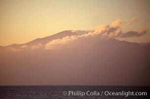 Molokai summit and cloud, viewed from west Maui. Molokai, Hawaii, USA, natural history stock photograph, photo id 00254