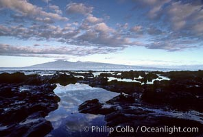 Molokai and water pools, viewed from west Maui. Maui, Hawaii, USA, natural history stock photograph, photo id 00253