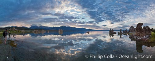 Mono Lake sunset, Sierra Nevada mountain range and tufas, clouds reflected in the still waters of Mono Lake. Mono Lake, California, USA, natural history stock photograph, photo id 26967