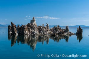 Tufa towers rise from Mono Lake.  Tufa towers are formed when underwater springs rich in calcium mix with lakewater rich in carbonates, forming calcium carbonate (limestone) structures below the surface of the lake.  The towers were eventually revealed when the water level in the lake was lowered starting in 1941.  South tufa grove, Navy Beach