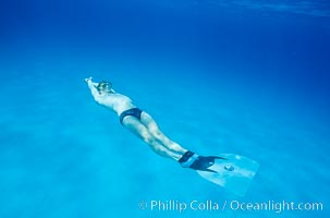 Freediver and monofin. Bahamas, natural history stock photograph, photo id 02986