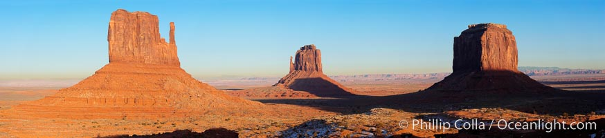 Monument Valley panorama, a composite of four individual photographs.,  Copyright Phillip Colla, image #20902, all rights reserved worldwide.