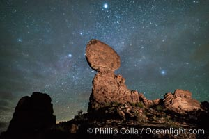 Moon and Stars over Balanced Rock, Arches National Park