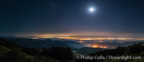 Image 28751, Moon and Stars over Pauma Valley, viewed from Palomar Mountain State Park. Palomar Mountain State Park, California, USA, Phillip Colla, all rights reserved worldwide. Keywords: astrophotography, california, evening, landscape astrophotography, moon, night, palomar mountain, palomar mountain state park, panorama, panoramic photograph, pauma valley, san diego, stars.