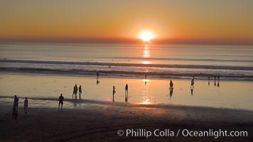 Moonlight Beach at sunset, Encinitas, California