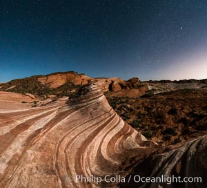 The Fire Wave by Moonlight, stars and the night sky, Valley of Fire State Park. Valley of Fire State Park, Nevada, USA, natural history stock photograph, photo id 28442