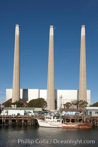 Morro Bay Power Plant stacks, each 450-feet tall, mark the Pacific Gas and Electric power plant