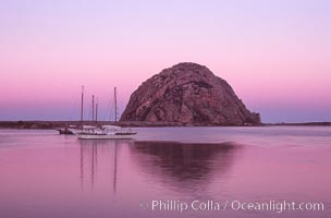 Morro Rock and Morro Bay, pink sky at dawn, sunrise
