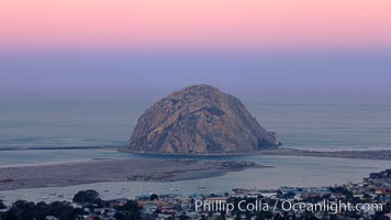 Earth shadow over Morro Rock and Morro Bay.  Just before sunrise the shadow of the Earth can seen as the darker sky below the pink sunrise. Morro Bay, California, USA, natural history stock photograph, photo id 22213
