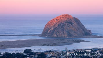 First light on Morro Rock, sunrise, Morro Bay, California