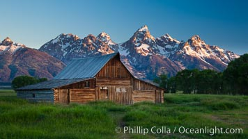 T.A. Moulton barn with Teton Range, on Mormon Row in Grand Teton National Park, Wyoming