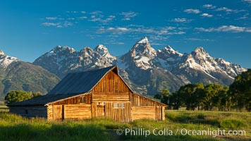 John Moulton barn with Teton Range, on Mormon Row in Grand Teton National Park, Wyoming