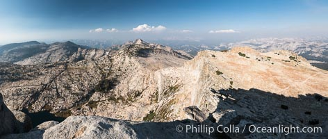 View from Summit of Mount Hoffmann, Ten Lakes Basin at lower left, looking northeast toward remote northern reaches of Yosemite National Park, panorama. Mount Hoffmann, Yosemite National Park, California, USA, natural history stock photograph, photo id 31190