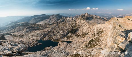 View from Summit of Mount Hoffmann, Ten Lakes Basin at lower left, looking northeast toward remote northern reaches of Yosemite National Park, panorama