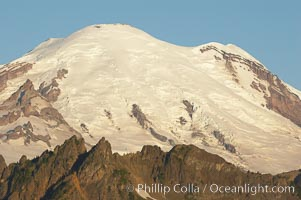 Mount Rainier rises above Governors Ridge, Emmons Glacier, Mount Rainier National Park, Washington