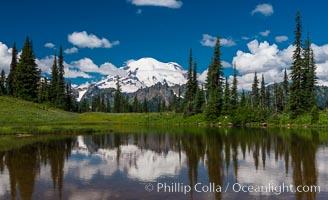Mount Rainier reflected in Tipsoo Lake. Tipsoo Lakes, Mount Rainier National Park, Washington, USA, natural history stock photograph, photo id 28740