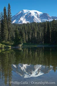 Mount Rainier rises above Reflection Lake, afternoon, Mount Rainier National Park, Washington