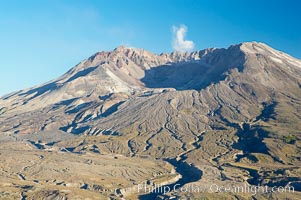 Mount St. Helens viewed from Johnston Observatory five miles away, showing western flank that was devastated during the 1980 eruption, Mount St. Helens National Volcanic Monument, Washington