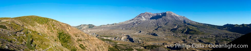Panorama of Mount St. Helens, viewed from Johnston Ridge.,  Copyright Phillip Colla, image #19118, all rights reserved worldwide.