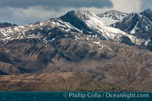 Mountains, glaciers and ocean, the rugged and beautiful topography of South Georgia Island. Grytviken, South Georgia Island, natural history stock photograph, photo id 24549